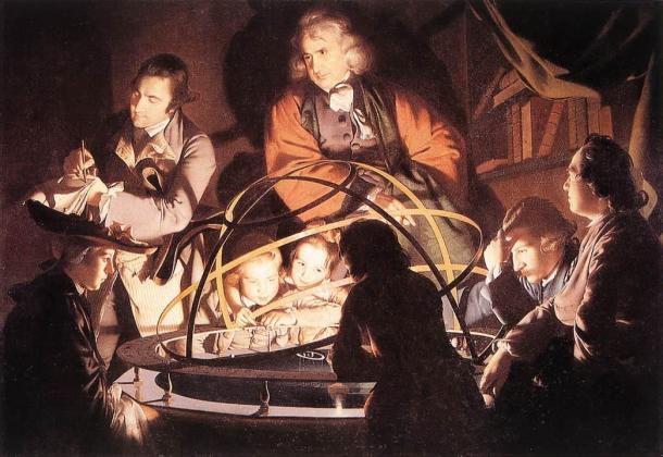 Le philosophe faisant la lecture du système planétaire, Joseph Wright, 1766