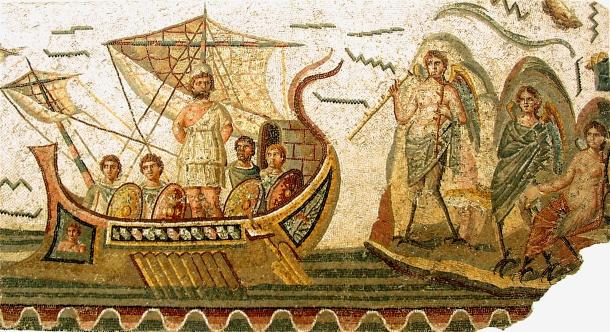 Ulysse et les Sirènes, mosaïque romane (Bardo National Museum)