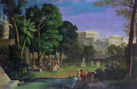 """""""Le jardin des philosophes"""", par Antal Strohmayer (1834)"""