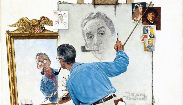 """""""Triple autoportrait"""", Rockwell (détail)"""