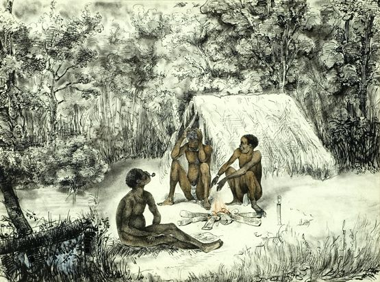 """""""Trois Nègres marrons, à Surinam"""", Théodore BRAY (1818-1887)"""