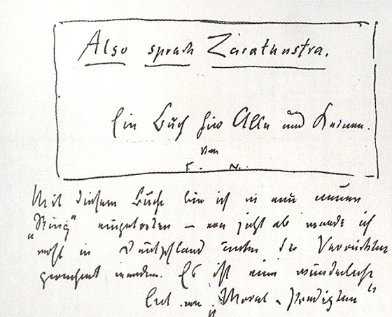 Manuscrit d'Also sprach Zarathustra