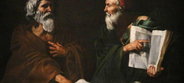 Ce tableau serait la mise en scène d'une dispute opposant un partisan d'Anaxagore, philosophe grec du 5e siècle avant J.-C. et ami de Périclès, à un autre philosophe qui montre du doigt les théories de Lacydès, philosophe grec du 3e siècle avant J.-C.